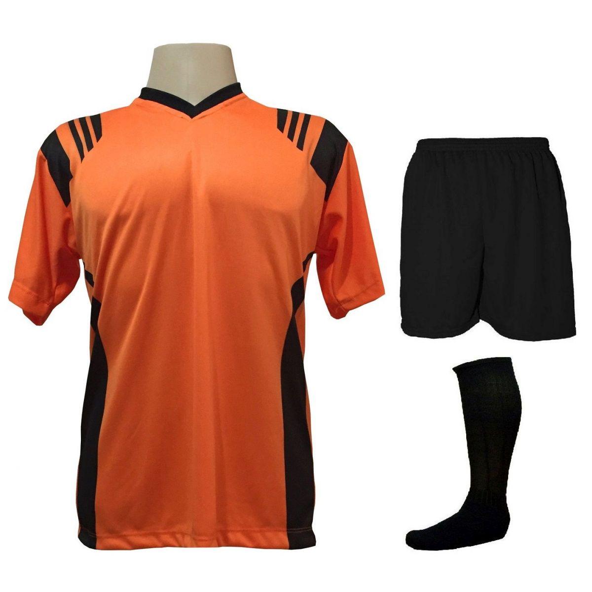 Uniforme Esportivo com 20 camisas modelo Roma Laranja/Preto + 20 calções modelo Madrid Preto + 20 pares de meiões Preto