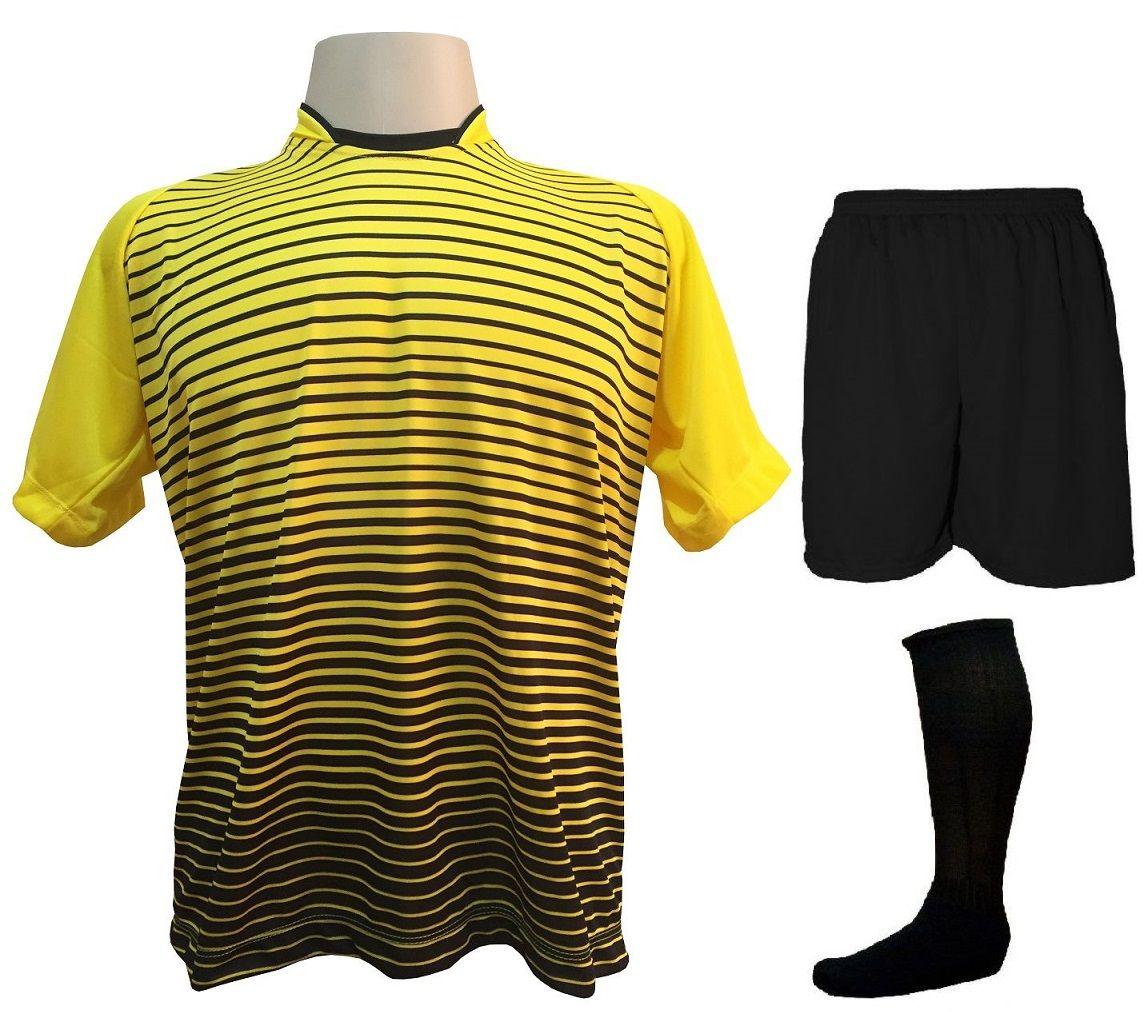 Uniforme Esportivo com 12 Camisas modelo City Amarelo/Preto + 12 Calções modelo Madrid Preto + 12 Pares de meiões Preto   - ESTAÇÃO DO ESPORTE