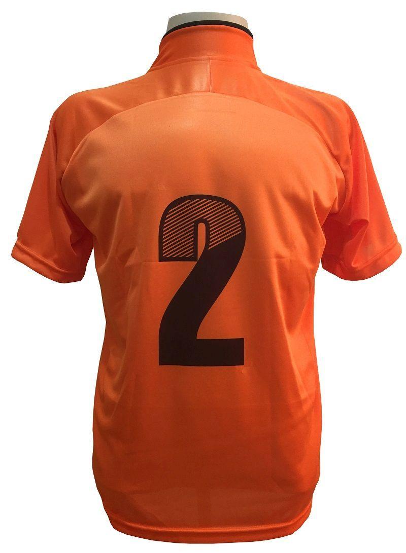 Uniforme Esportivo com 12 Camisas modelo City Laranja/Preto + 12 Calções modelo Madrid Preto + 12 Pares de meiões Laranja