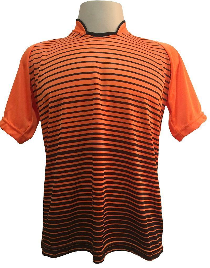 Uniforme Esportivo com 12 Camisas modelo City Laranja/Preto + 12 Calções modelo Madrid Preto + 12 Pares de meiões Preto
