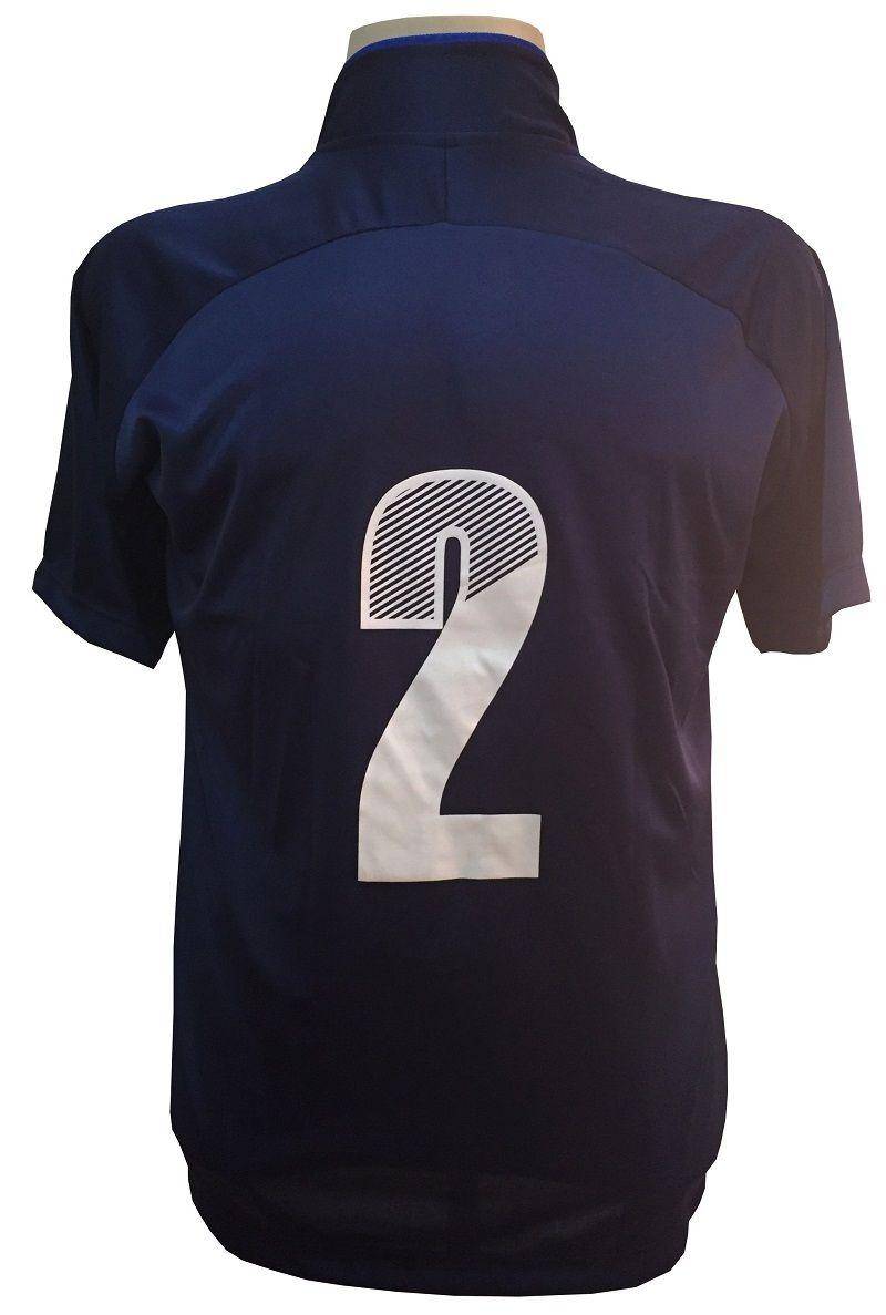 Uniforme Esportivo com 12 Camisas modelo City Marinho/Royal + 12 Calções modelo Madrid Royal + 12 Pares de meiões Marinho