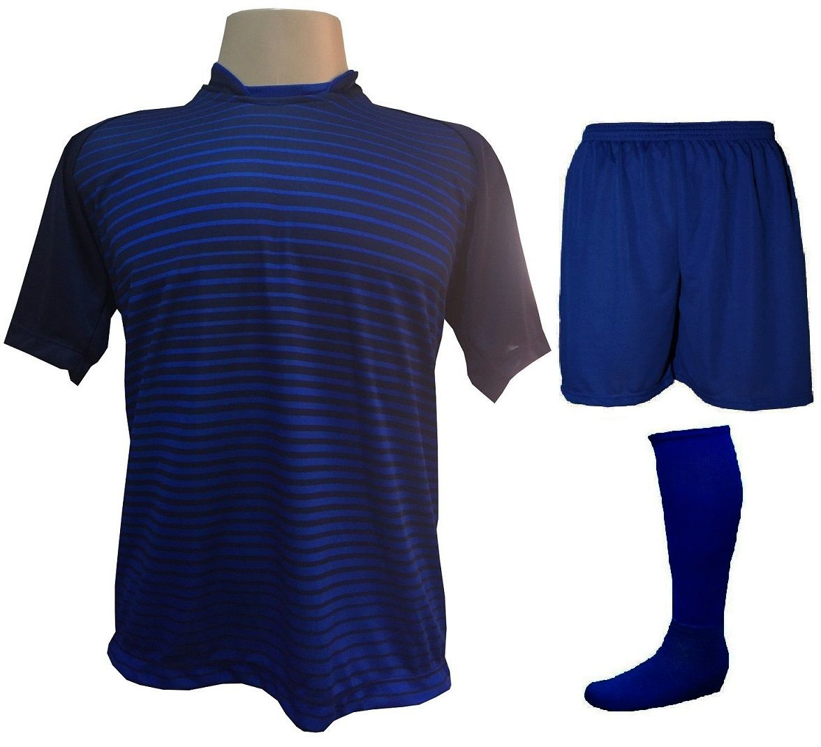 Uniforme Esportivo com 12 Camisas modelo City Marinho/Royal + 12 Calções modelo Madrid Royal + 12 Pares de meiões Royal