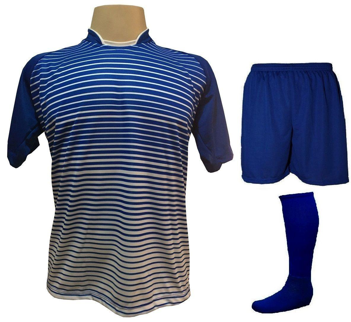 Uniforme Esportivo com 12 Camisas modelo City Royal/Branco + 12 Calções modelo Madrid Royal + 12 Pares de meiões Royal