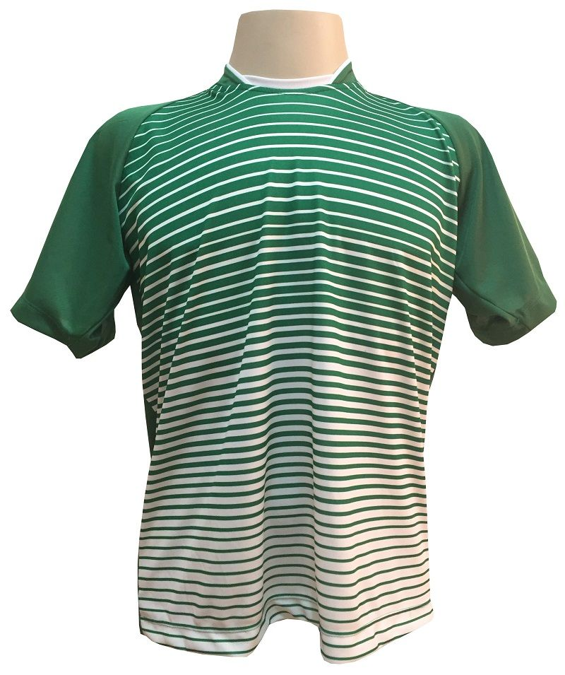 Uniforme Esportivo com 12 Camisas modelo City Verde/Branco + 12 Calções modelo Madrid Branco + 12 pares de meiões Branco   - ESTAÇÃO DO ESPORTE