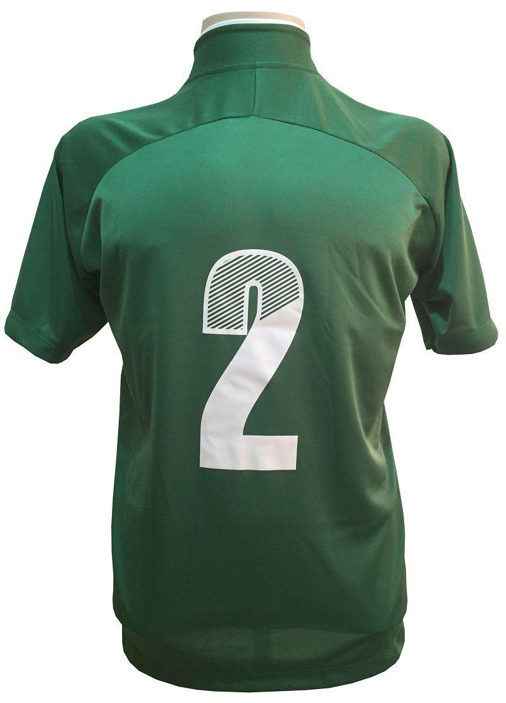 Uniforme Esportivo com 12 Camisas modelo City Verde/Branco + 12 Calções modelo Madrid Verde + 12 Pares de meiões Branco