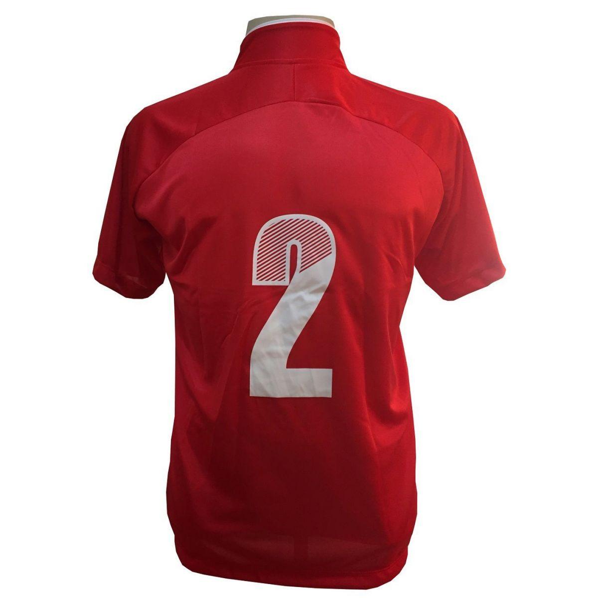 Uniforme Esportivo com 12 Camisas modelo City Vermelho/Branco + 12 Calções modelo Madrid Branco + 12 Pares de meiões Vermelho   - ESTAÇÃO DO ESPORTE