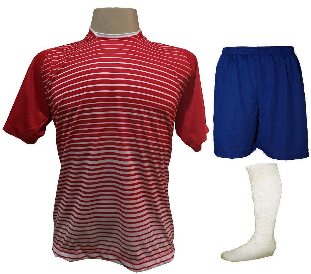 Uniforme Esportivo com 12 Camisas modelo City Vermelho/Branco + 12 Calções modelo Madrid Royal + 12 Pares de meiões Branco