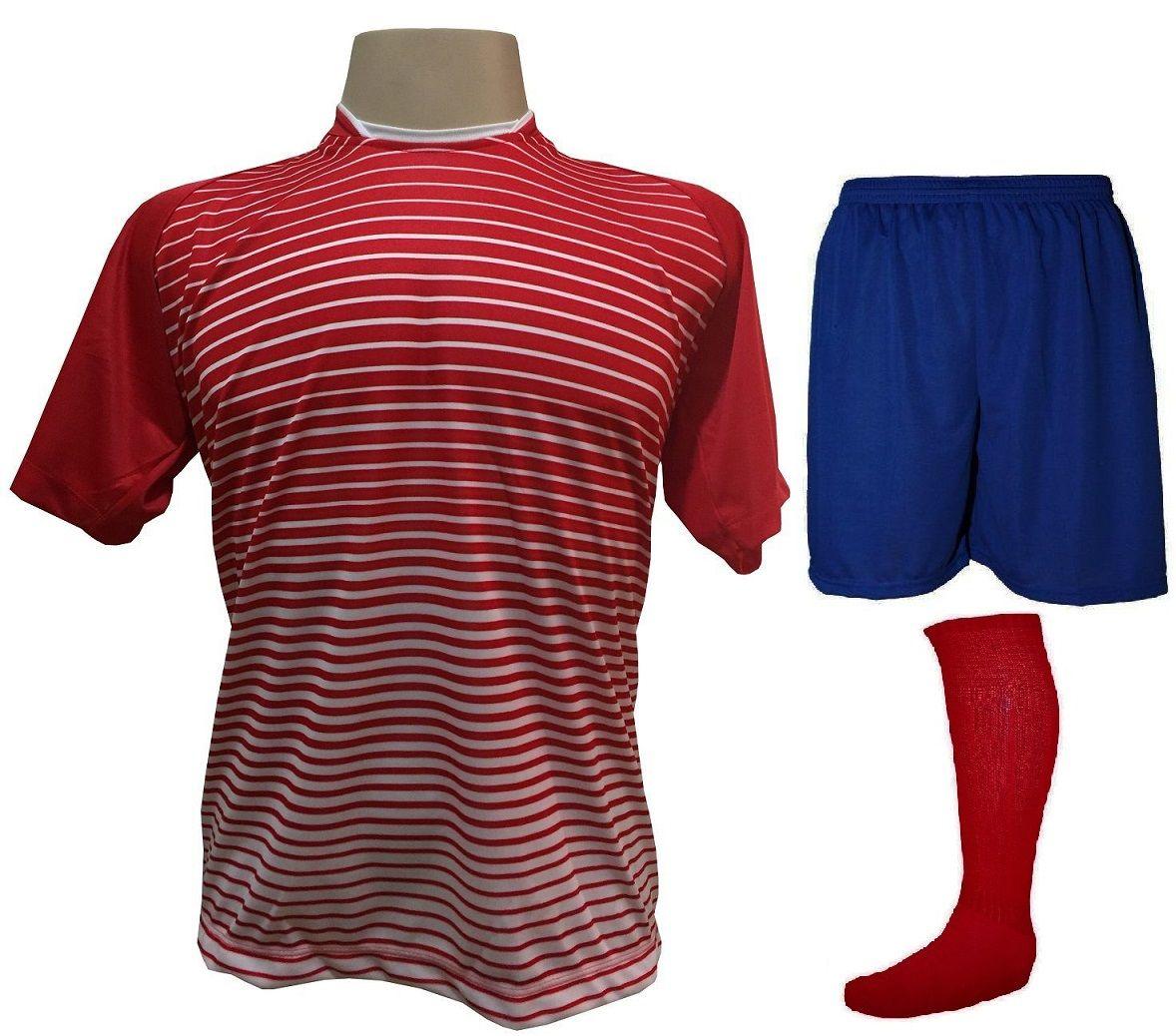 Uniforme Esportivo com 12 Camisas modelo City Vermelho/Branco + 12 Calções modelo Madrid Royal + 12 Pares de meiões Vermelho