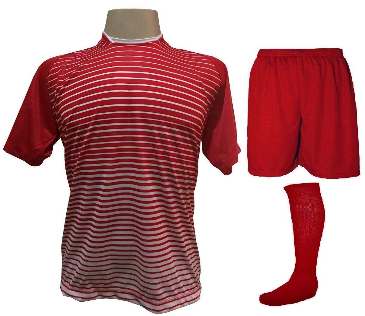 Uniforme Esportivo com 12 Camisas modelo City Vermelho/Branco + 12 Calções modelo Madrid Vermelho + 12 Pares de meiões Vermelho   - ESTAÇÃO DO ESPORTE