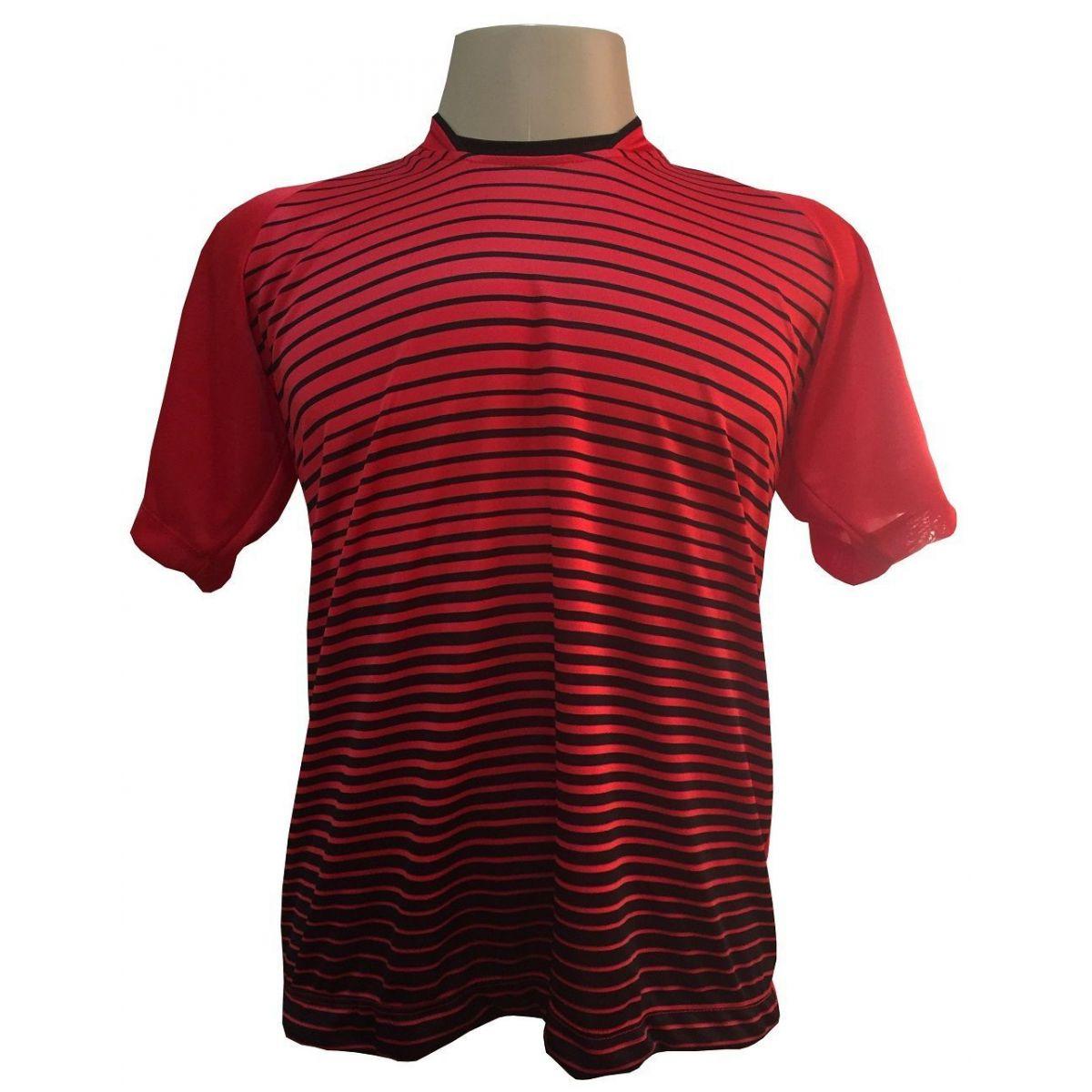 Uniforme Esportivo com 12 Camisas modelo City Vermelho/Preto + 12 Calções modelo Madrid Preto + 12 Pares de meiões Preto
