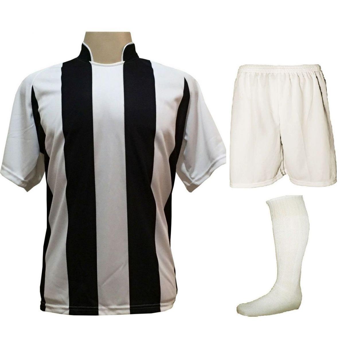 Uniforme Esportivo com 12 Camisas modelo Milan Branco/Preto + 12 Calções modelo Madrid Branco + 12 Pares de meiões Branco