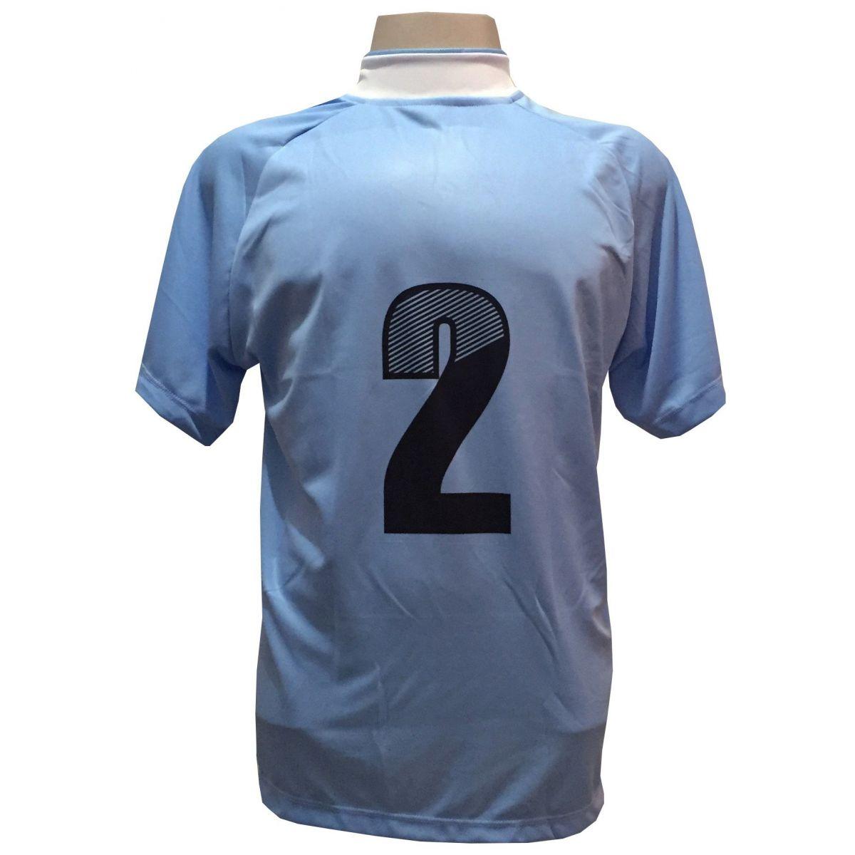 Uniforme Esportivo com 12 Camisas modelo Milan Celeste/Branco + 12 Calções modelo Madrid Branco + 12 Pares de meiões Branco