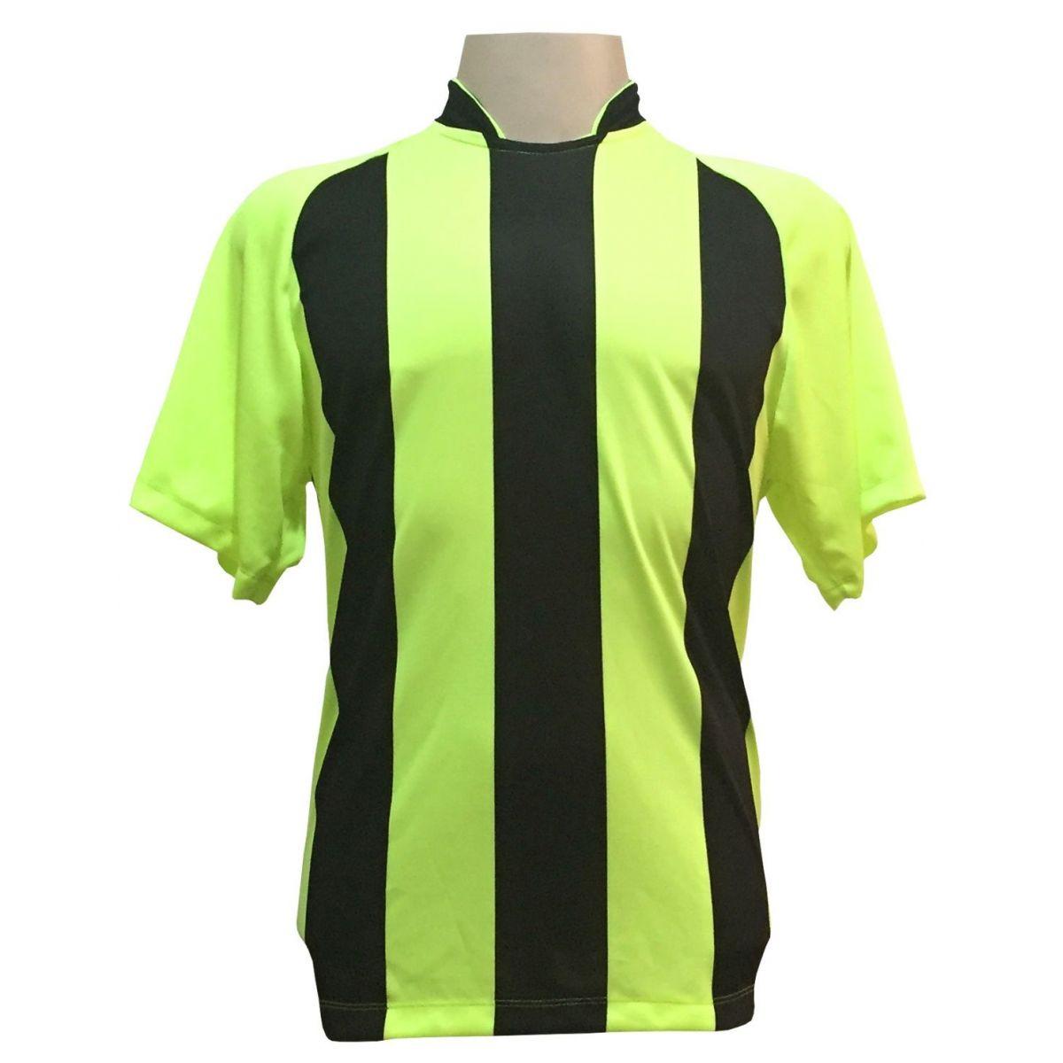 Uniforme Esportivo com 12 Camisas modelo Milan Limão/Preto + 12 Calções modelo Madrid Preto + 12 Pares de meiões Preto