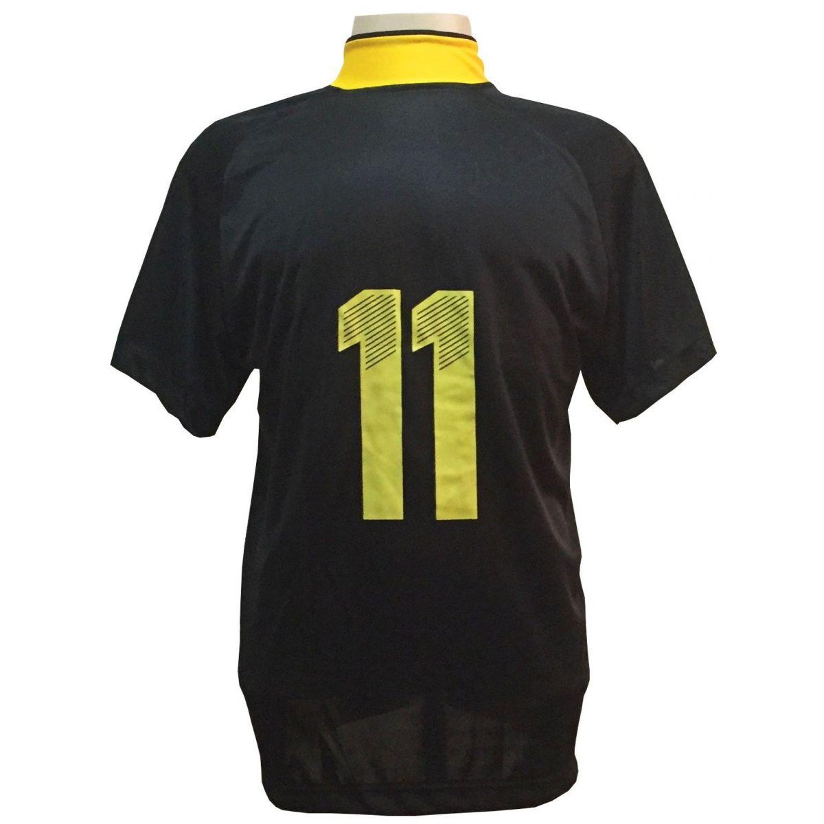 Uniforme Esportivo com 12 Camisas modelo Milan Preto/Amarelo + 12 Calções modelo Madrid Amarelo + 12 Pares de meiões Amarelo