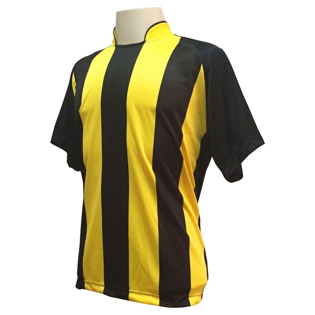 Uniforme Esportivo com 12 Camisas modelo Milan Preto/Amarelo + 12 Calções modelo Madrid Amarelo + 12 Pares de meiões Preto