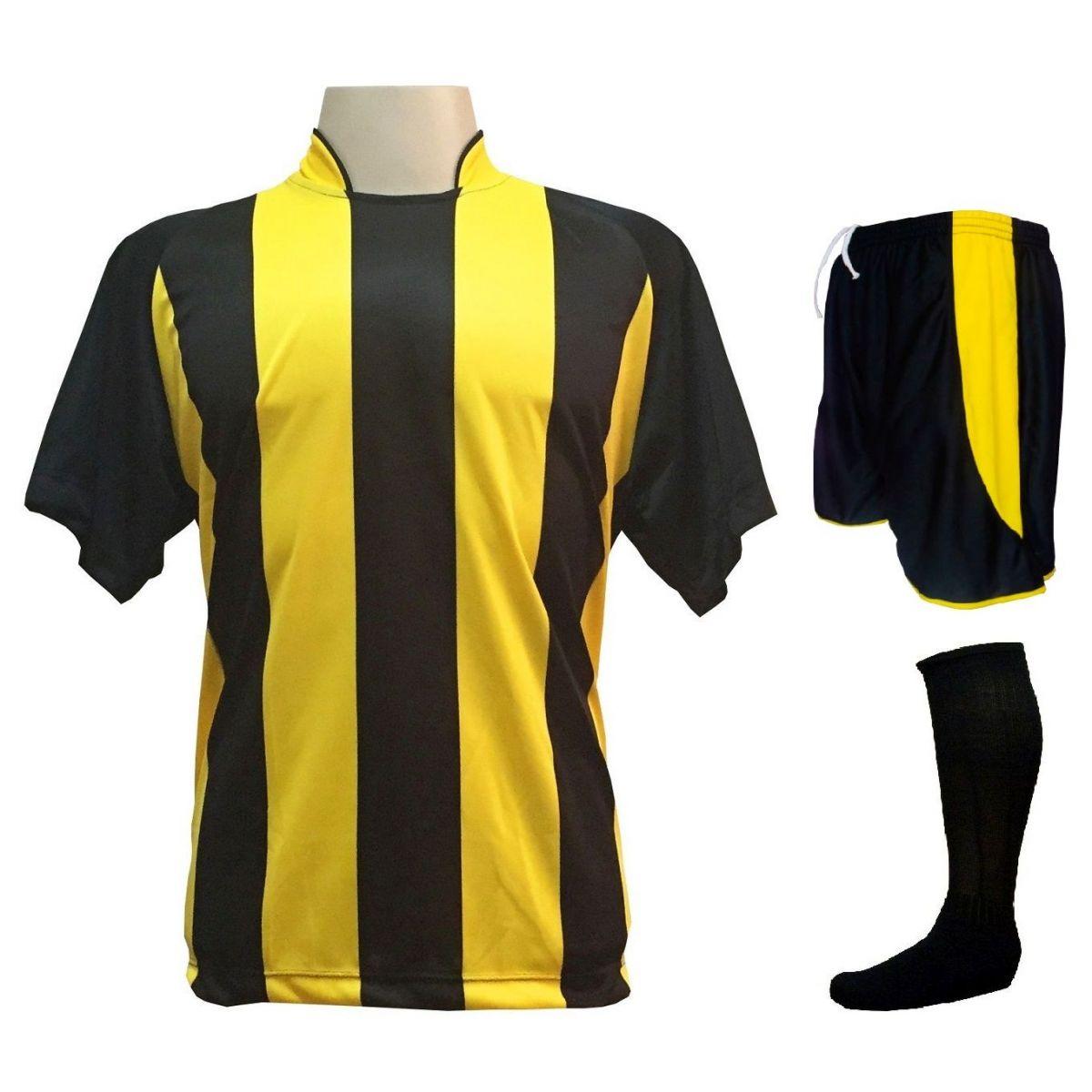 Uniforme Esportivo com 12 Camisas modelo Milan Preto/Amarelo + 12 Calções modelo Copa Preto/Amarelo + 12 Pares de meiões Preto