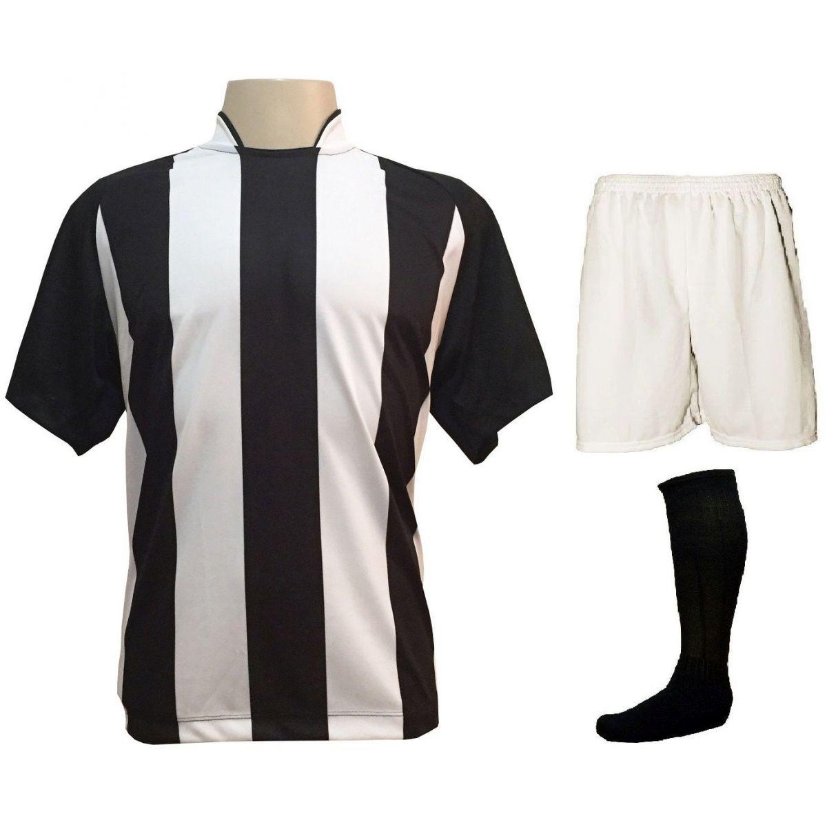 Uniforme Esportivo com 12 Camisas modelo Milan Preto/Branco + 12 Calções modelo Madrid Branco + 12 Pares de meiões Preto   - ESTAÇÃO DO ESPORTE