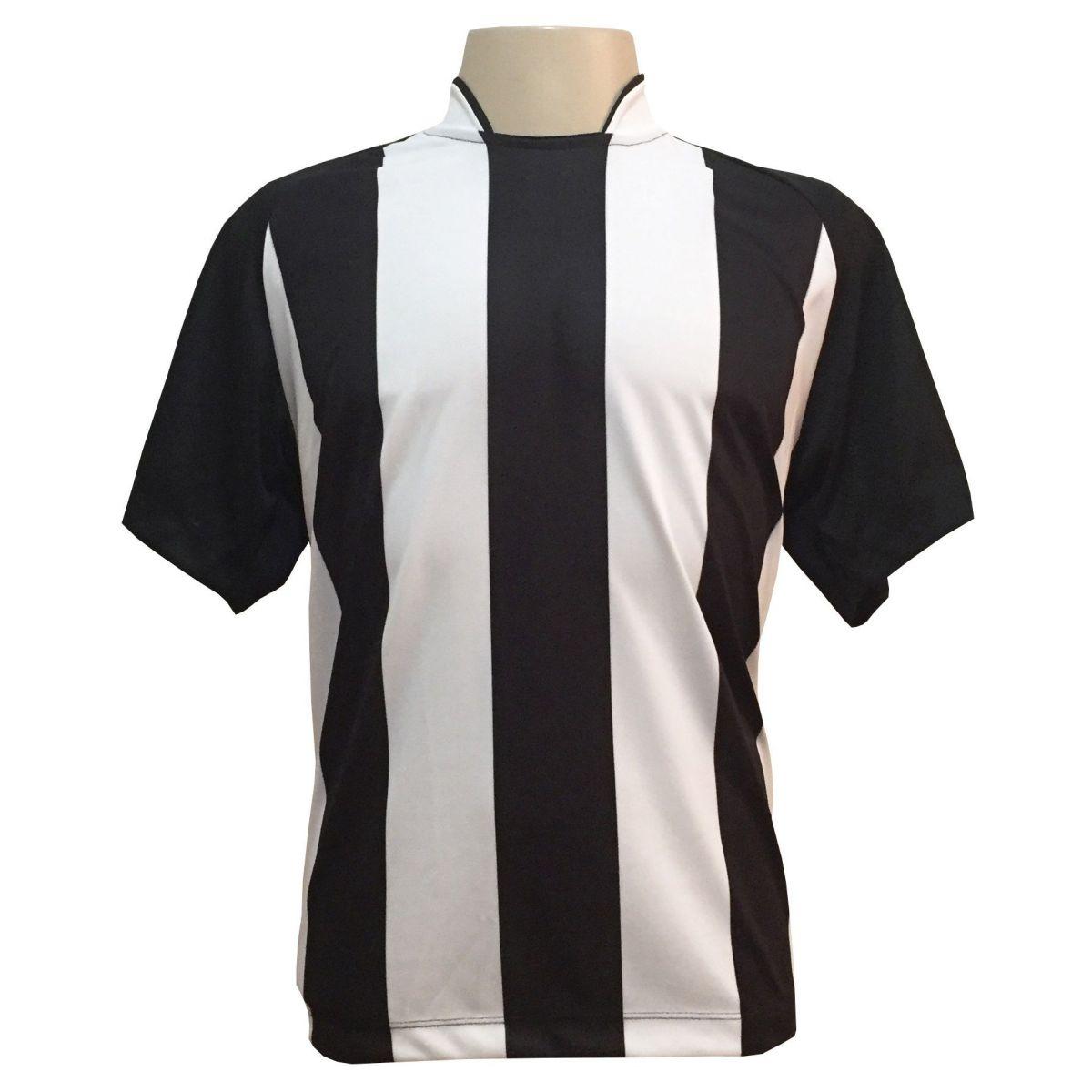 Uniforme Esportivo com 12 Camisas modelo Milan Preto/Branco + 12 Calções modelo Madrid Branco + 12 Pares de meiões Preto