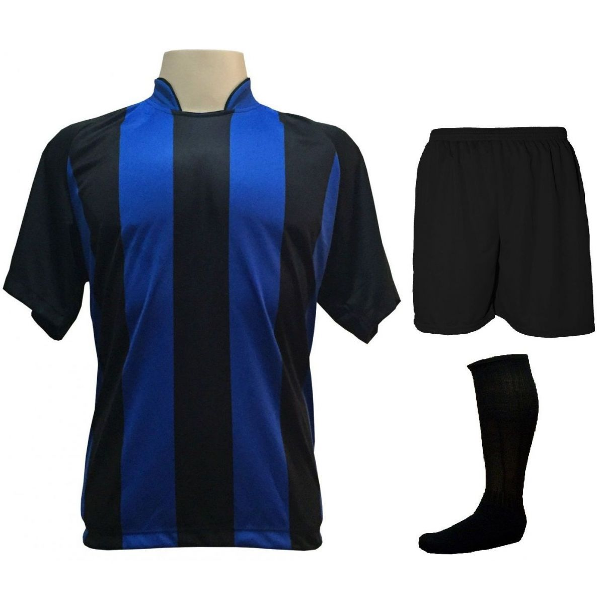 Uniforme Esportivo com 12 Camisas modelo Milan Preto/Royal + 12 Calções modelo Madrid Preto + 12 Pares de meiões Preto