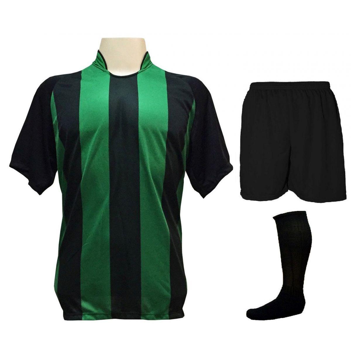 Uniforme Esportivo com 12 Camisas modelo Milan Preto/Verde + 12 Calções modelo Madrid Preto + 12 Pares de meiões Preto