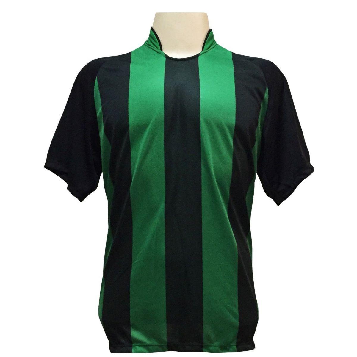 Uniforme Esportivo com 12 Camisas modelo Milan Preto/Verde + 12 Calções modelo Madrid Verde + 12 Pares de meiões Preto