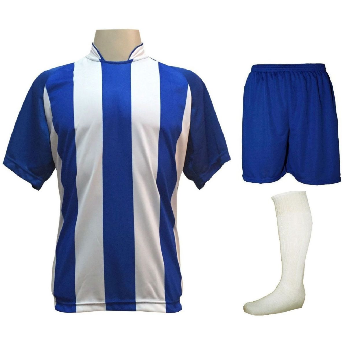 Uniforme Esportivo com 12 Camisas modelo Milan Royal/Branco + 12 Calções modelo Madrid Royal + 12 Pares de meiões Branco   - ESTAÇÃO DO ESPORTE