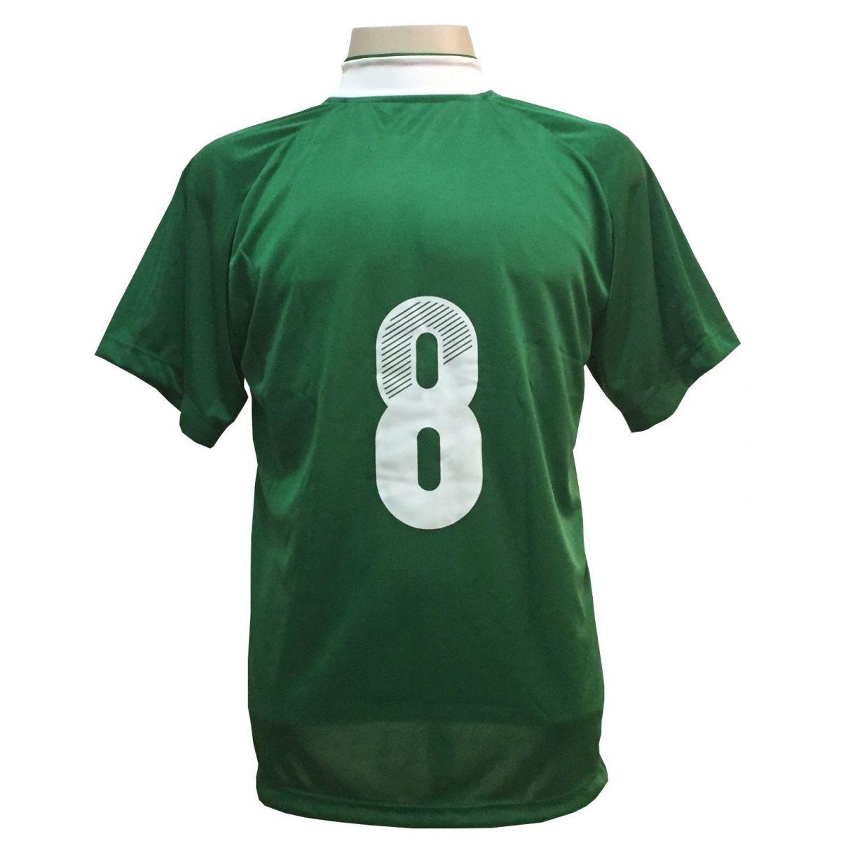 Uniforme Esportivo com 12 Camisas modelo Milan Verde/Branco + 12 Calções modelo Madrid Branco + 12 Pares de meiões Verde