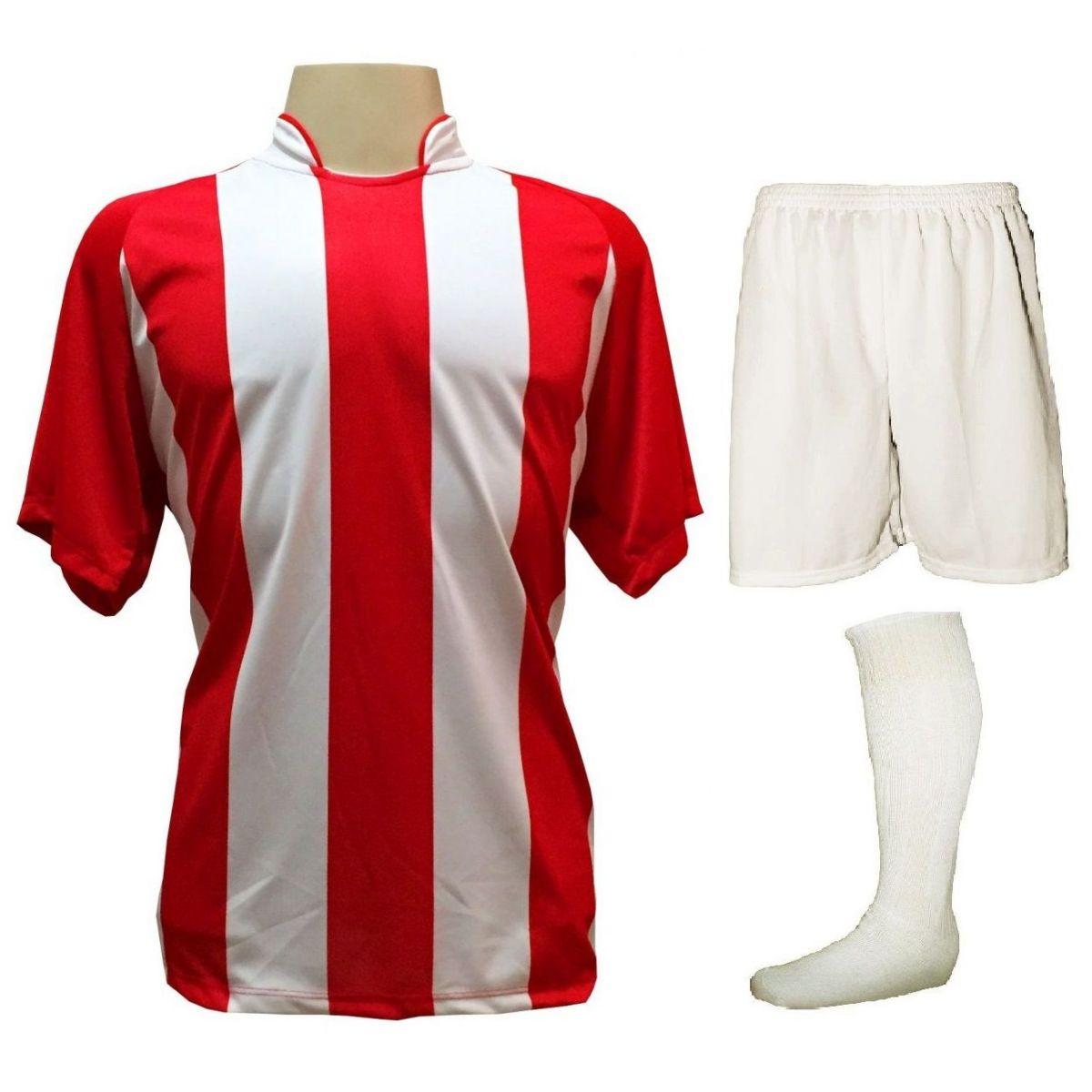 Uniforme Esportivo com 12 Camisas modelo Milan Vermelho/Branco + 12 Calções modelo Madrid Branco + 12 Pares de meiões Branco