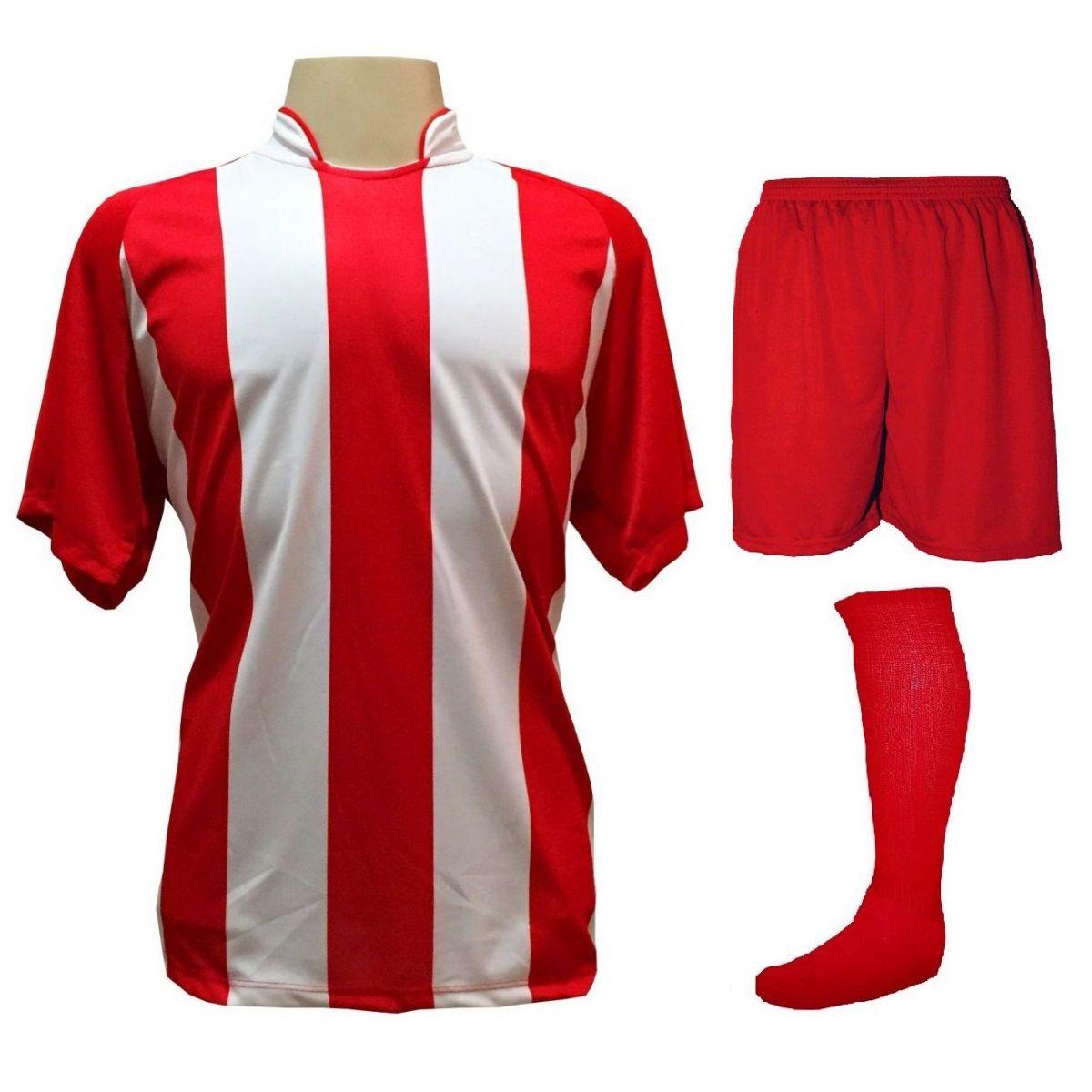 Uniforme Esportivo com 12 Camisas modelo Milan Vermelho/Branco + 12 Calções modelo Madrid Vermelho + 12 Pares de meiões Vermelho