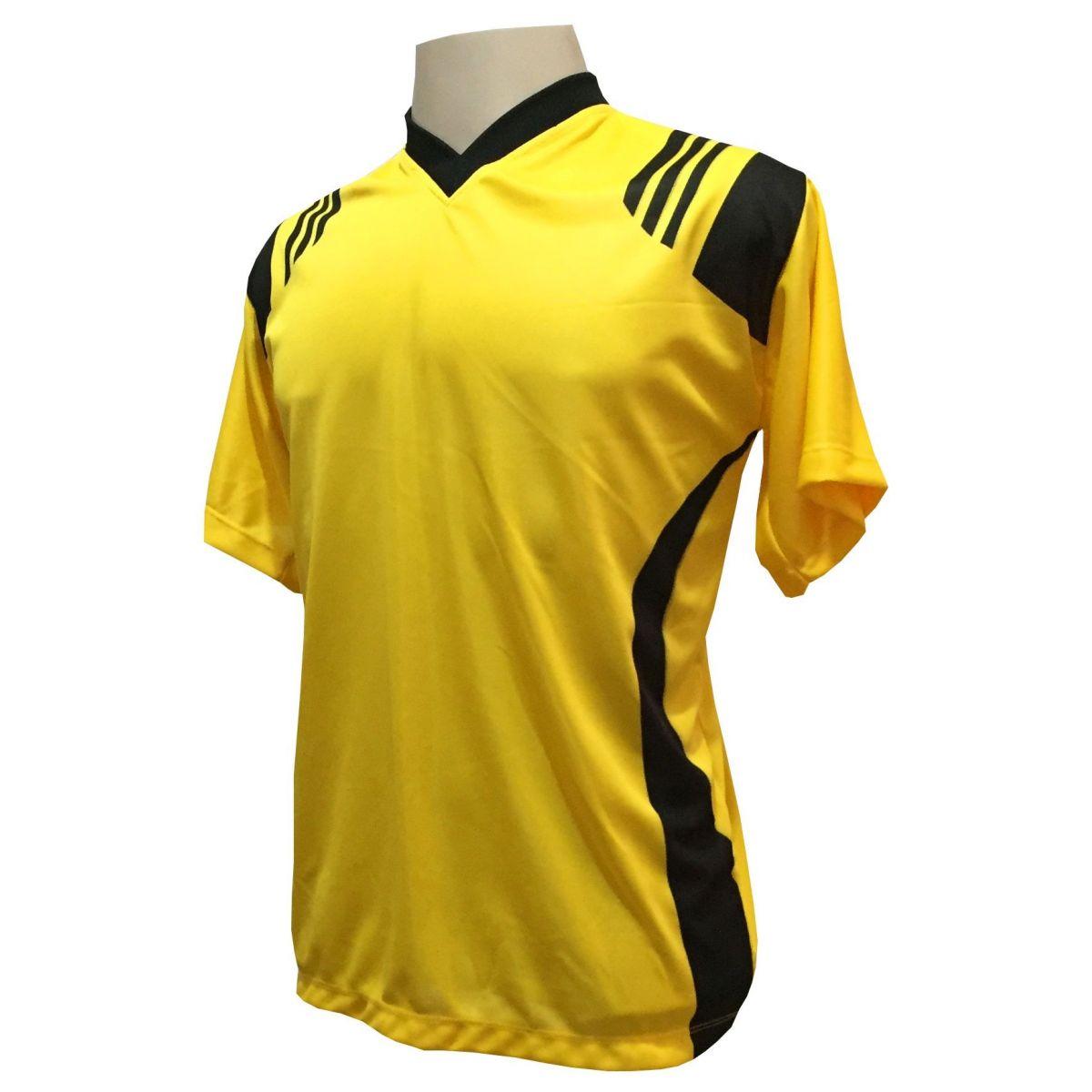 Uniforme Esportivo com 12 Camisas modelo Roma Amarelo/Preto + 12 Calções modelo Madrid Preto + 12 Pares de meiões Preto