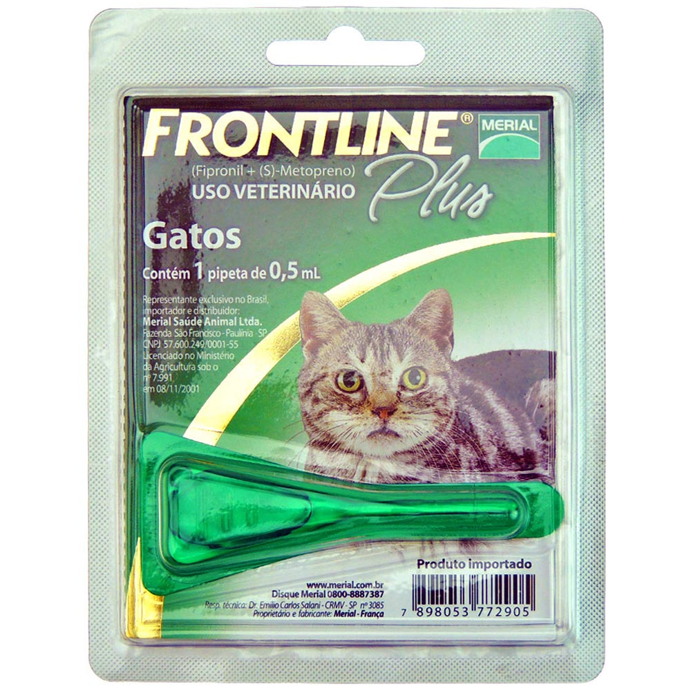 Antipulgas e Carrapatos Frontline Plus de 0,5 mL para Gatos