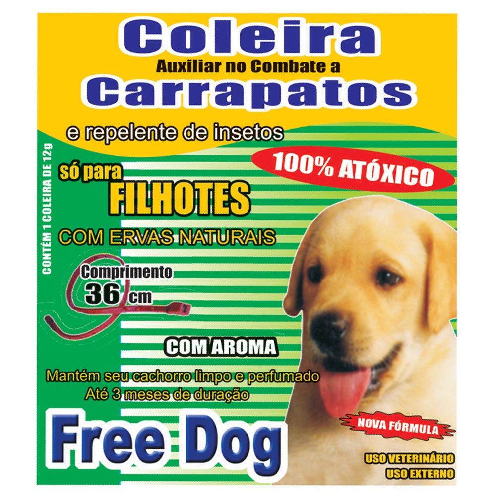 Coleira Free Dog Contra Carrapatos para Cães Filhotes