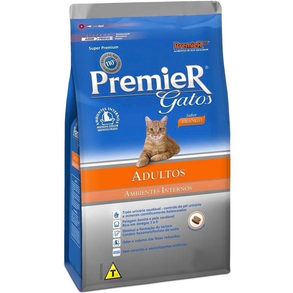 Ração Premier Ambientes Internos de Frango para Gatos Adultos