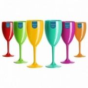 6 Taças Acrílicas para Vinho 300 ml Duracril Cores Sortidas