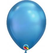 Balão de Látex Chrome Azul Qualatex 10 unidades