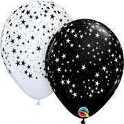 Balão de Látex Estrelinhas Cores Branco e Preto no.11 Qualatex (15Unid)