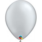 Balão de Látex Prata Perolado Qualatex 25 unidades
