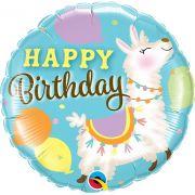 Balão Metalizado Aniversário Lhama 18pol Qualatex