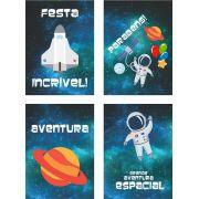 Cartaz Decorativo Festa Astronauta 04unid Duster