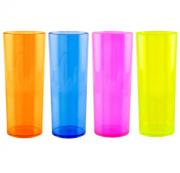 Copo Acrílico Long Drink 350ml Bezavel Cores Neon Translúcidas