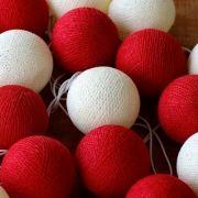 Cordão de Luz Vermelho e Branco Bolinha