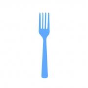 Garfo Descartável Sobremesa Azul Claro 10 unidades