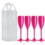Kit com 4 taças champanhe acrílicas Duracril e 1 Icebag Rosa