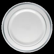 Prato Refeição Descartável Branco com Borda Prata 06unid