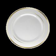 Prato Refeição Descartável Branco com Borda Dourada 18unid