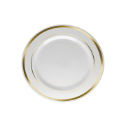 Prato Sobremesa Descartável Branco com Borda Dourada 18unid