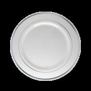 Prato Sobremesa Descartável Branco com Borda Prata 12unid