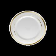 Prato Sobremesa Descartável Branco com Borda Prata 18unid