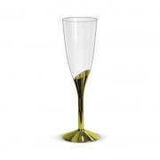 Taça Champanhe Base Dourada