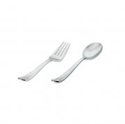 Talher Sobremesa Descartável Premium Silverplastic Prata 10unid